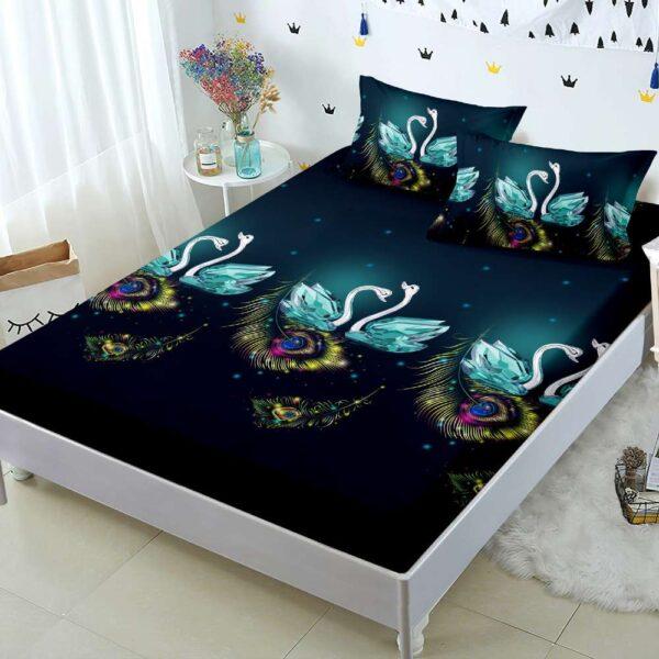 husa de pat cu elastic cu lebede