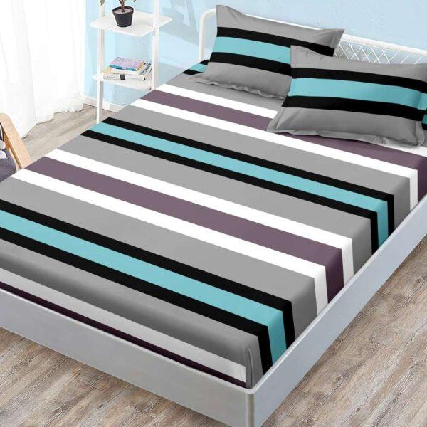 husa de pat cu elastic dungi colorate