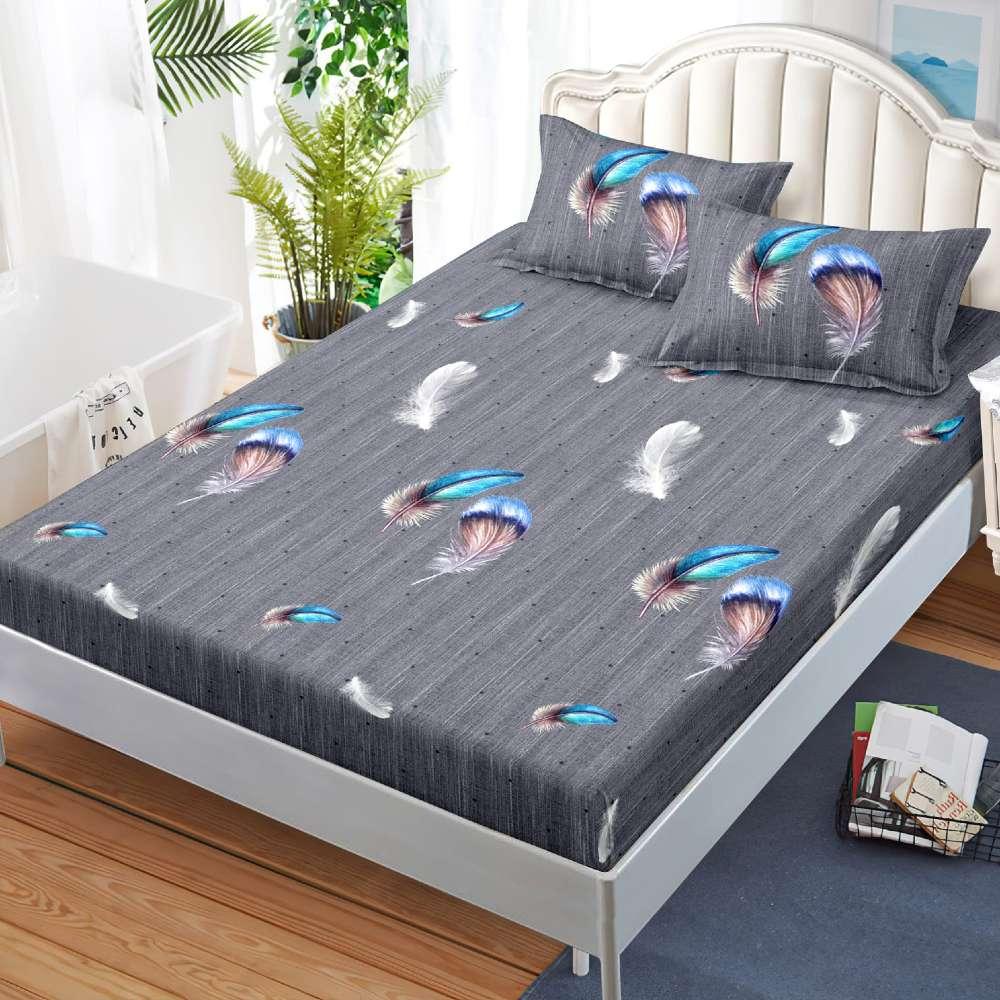 husa de pat cu elastic gri cu pene colorate