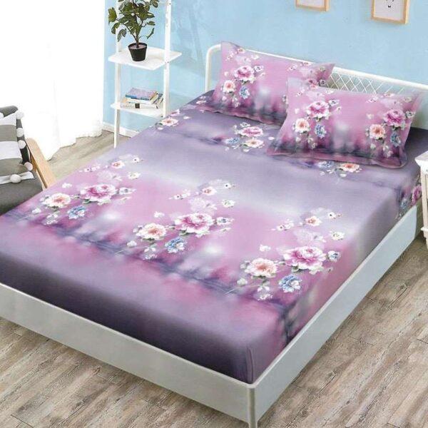 husa de pat cu elastic lila cu flori