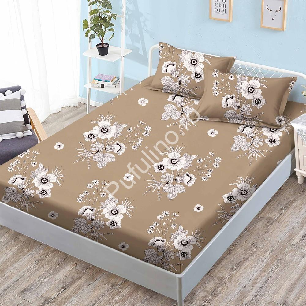 husa de pat cu elastic maro flori