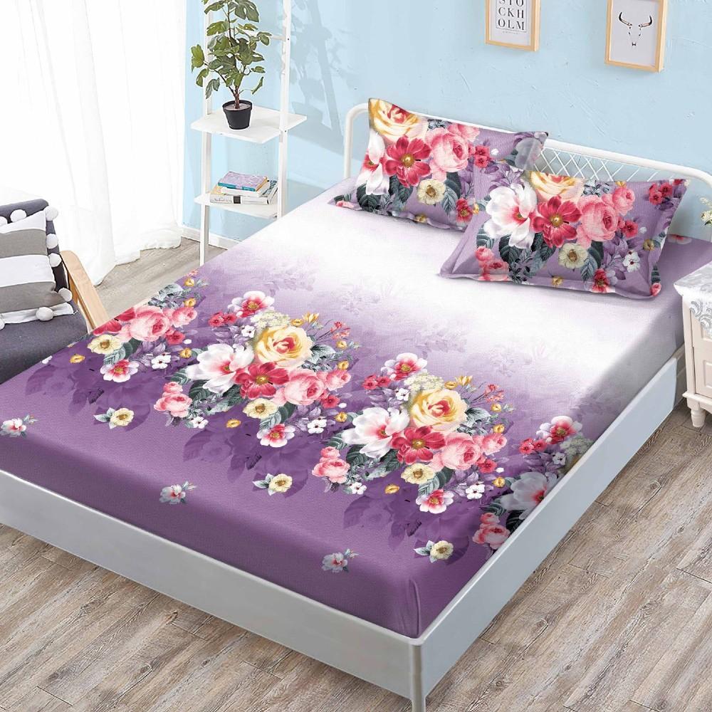 husa de pat cu elastic mov cu flori