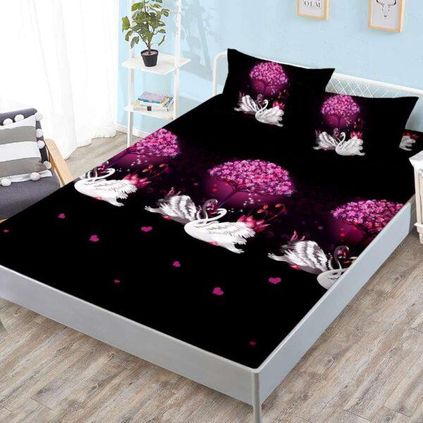 husa de pat cu elastic neagra cu lebede