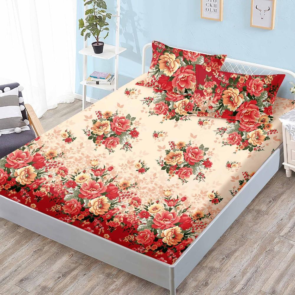 husa de pat cu elastic rosie cu flori