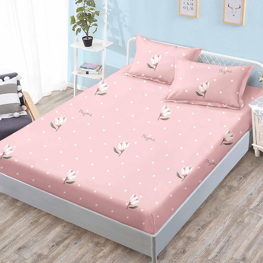 husa de pat cu elastic roz