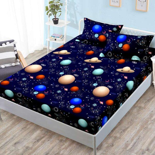 husa de pat cu elastic si fete de perna bleumarin
