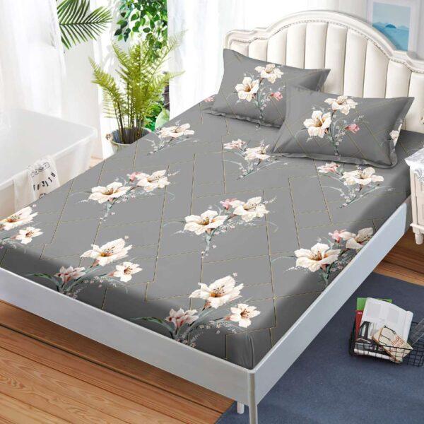husa de pat cu elastic si fete de perna gri
