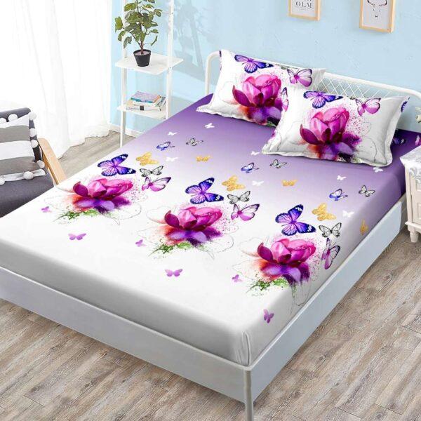 husa de pat cu elastic si fete de perna mov cu alb