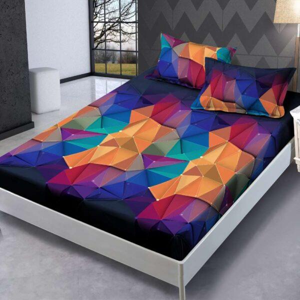 husa de pat cu elastic si fete de perna multicolora