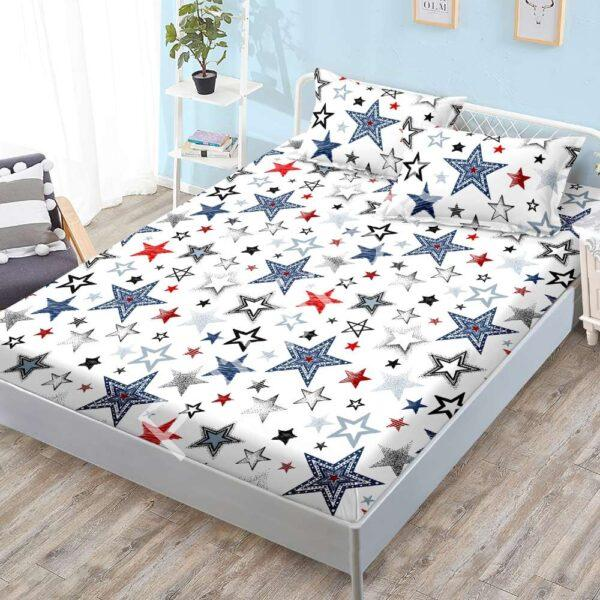 husa de pat cu elastic stelute colorate