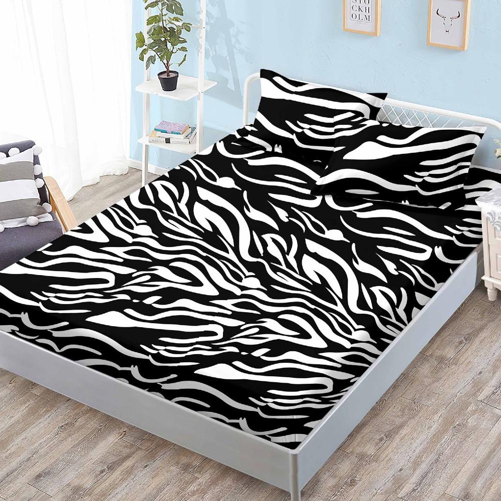 husa de pat cu elastic zebra