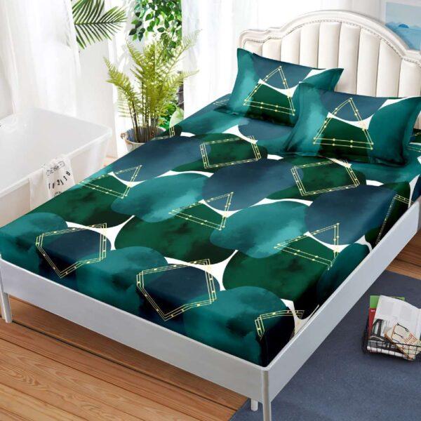 husa de pat si fete de perna verde