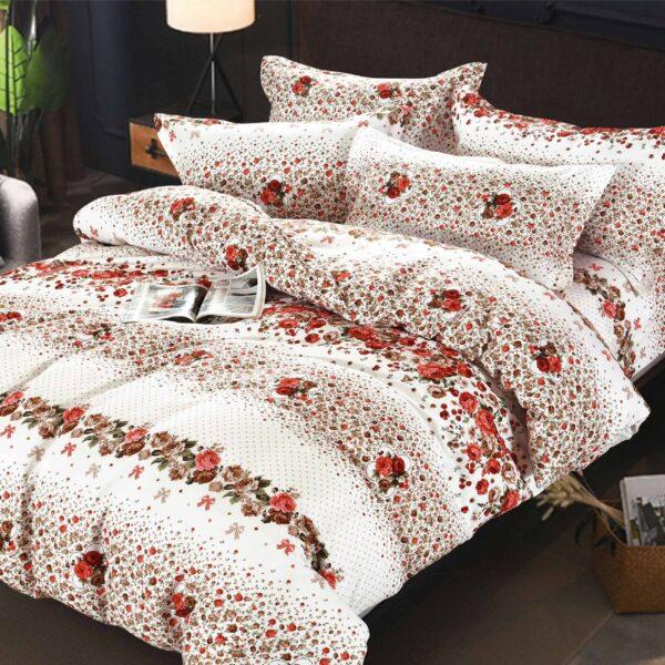 lenjerie alba cu trandafiri rosii