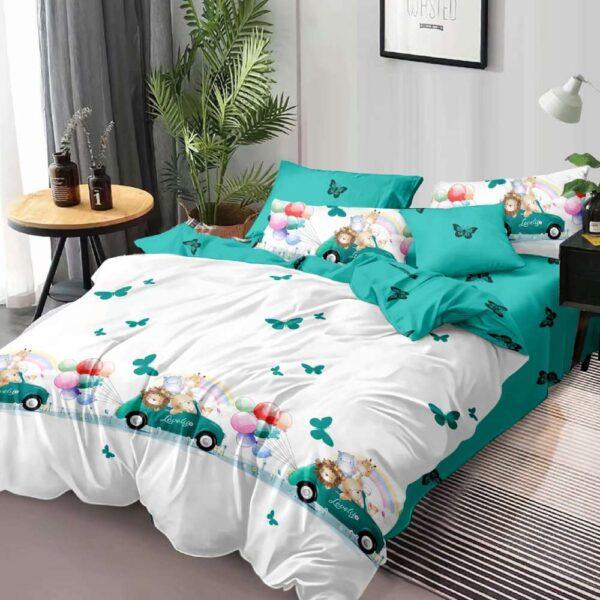 lenjerie de pat alb cu turcoaz
