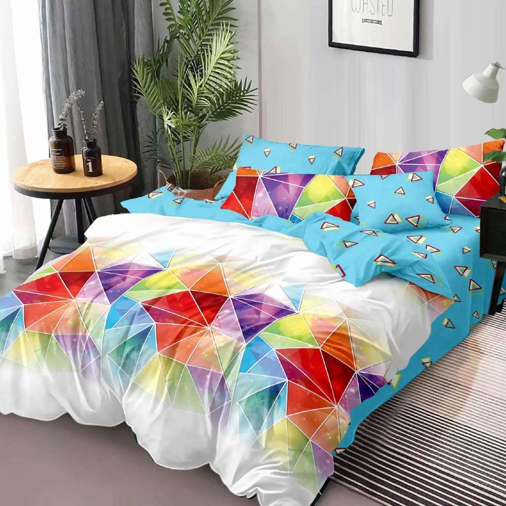 lenjerie de pat albastra cu forme geometrice colorate