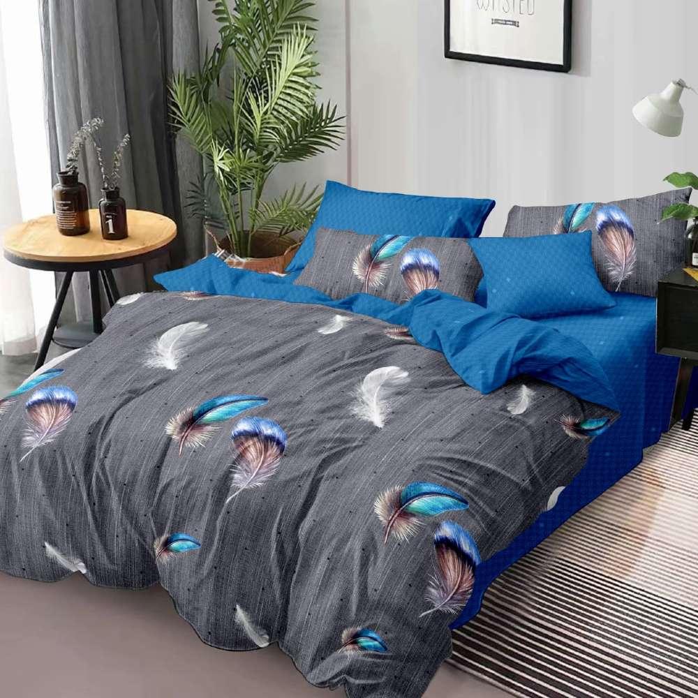 lenjerie de pat albastra cu gri