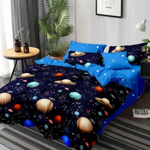 lenjerie de pat bleumarin cu corpuri ceresti