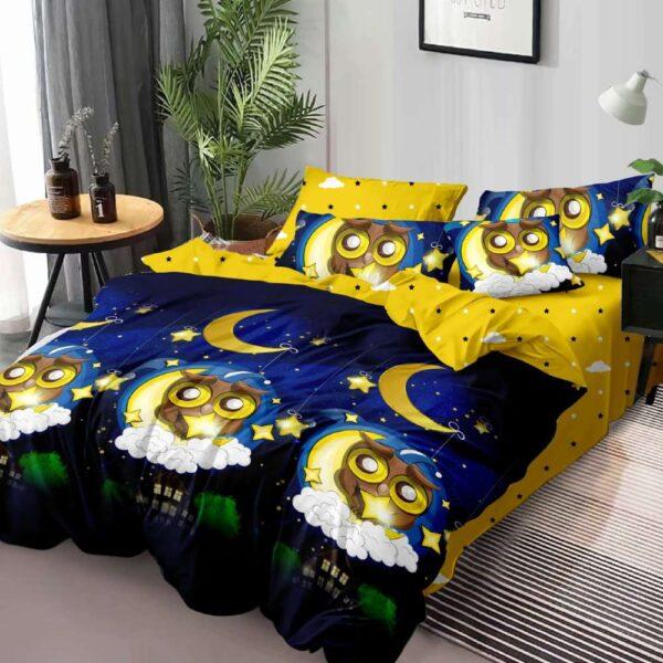 lenjerie de pat bleumarin cu galben