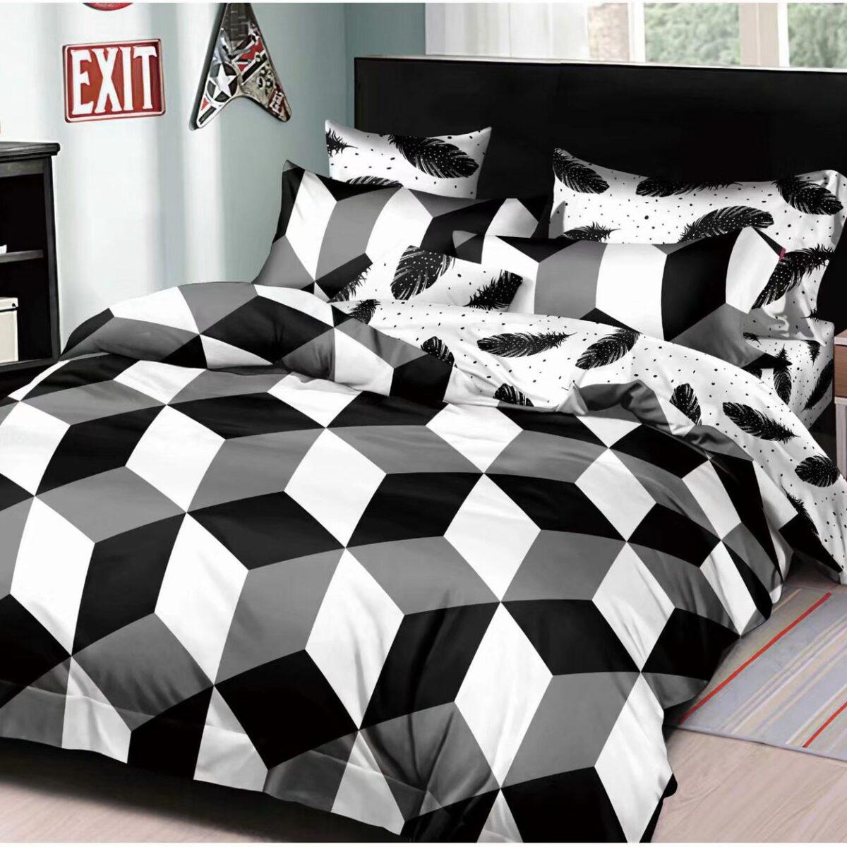 lenjerie de pat bumbac satinat alb negru