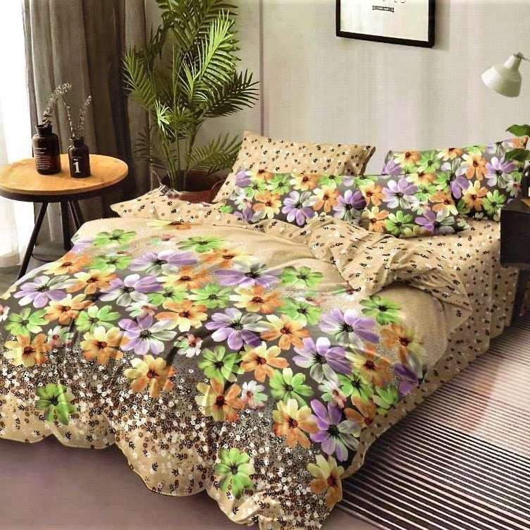 lenjerie de pat crem cu flori multicolore