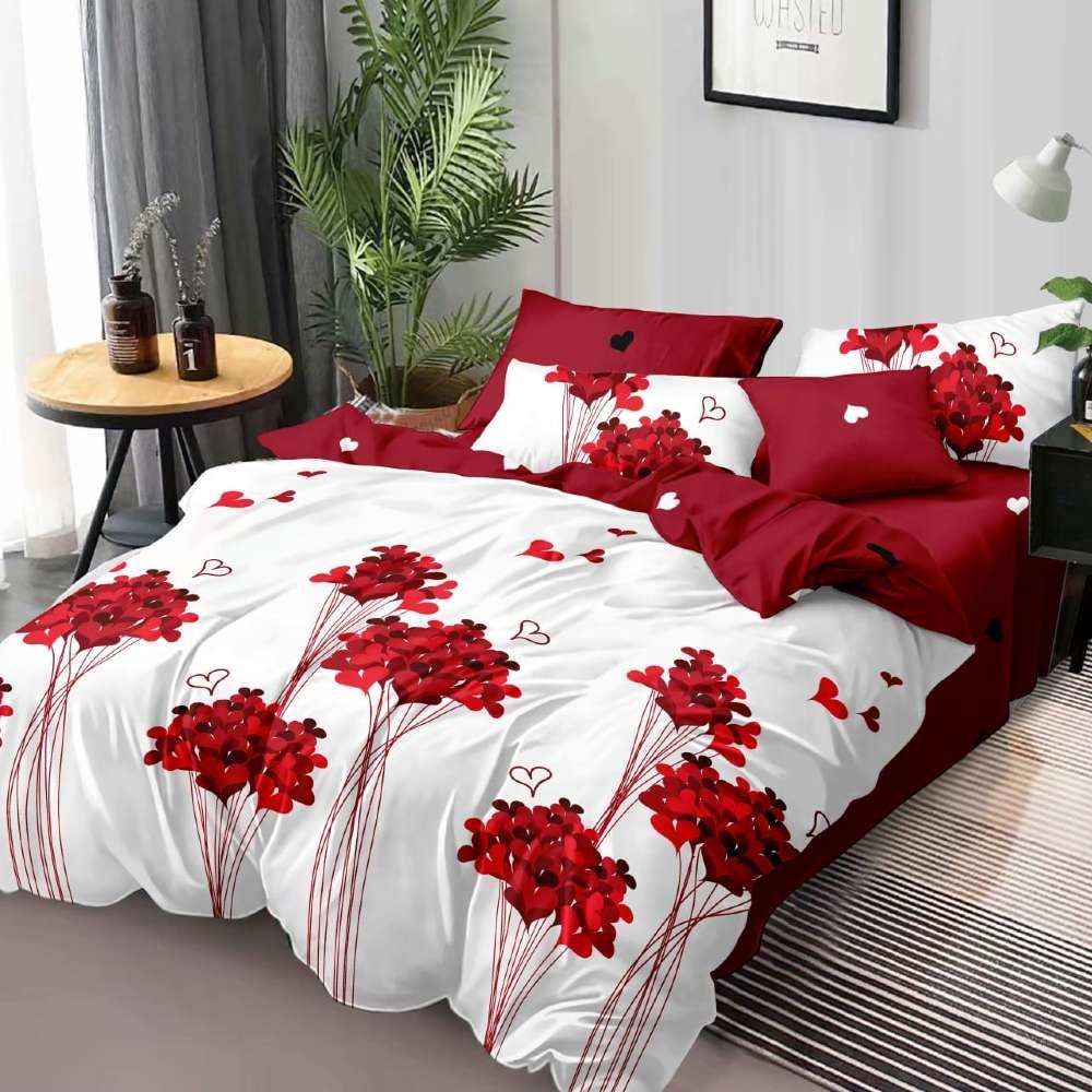lenjerie de pat cu flori alb cu rosu