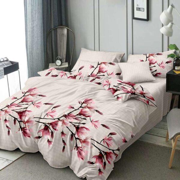 lenjerie de pat cu flori crem