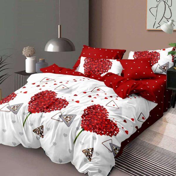 lenjerie de pat din finet rosie cu alb