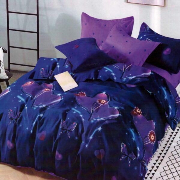 lenjerie de pat finet albastra cu fluturi