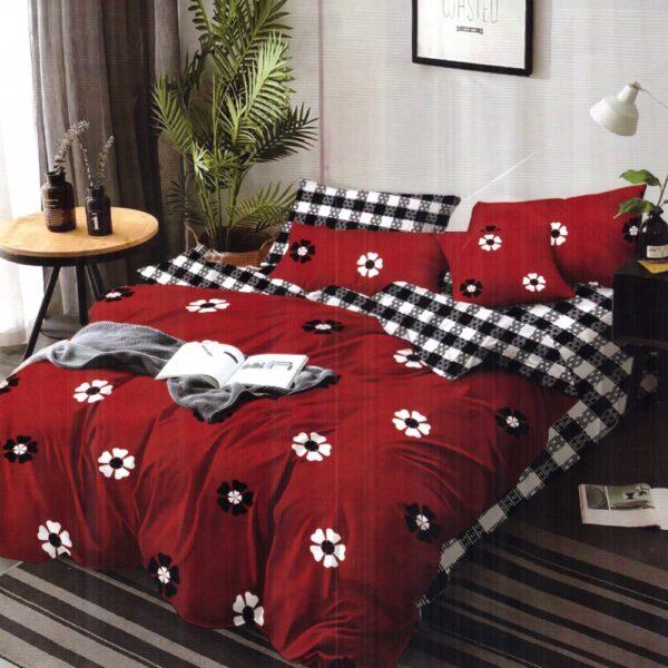 lenjerie de pat finet rosie cu floricele