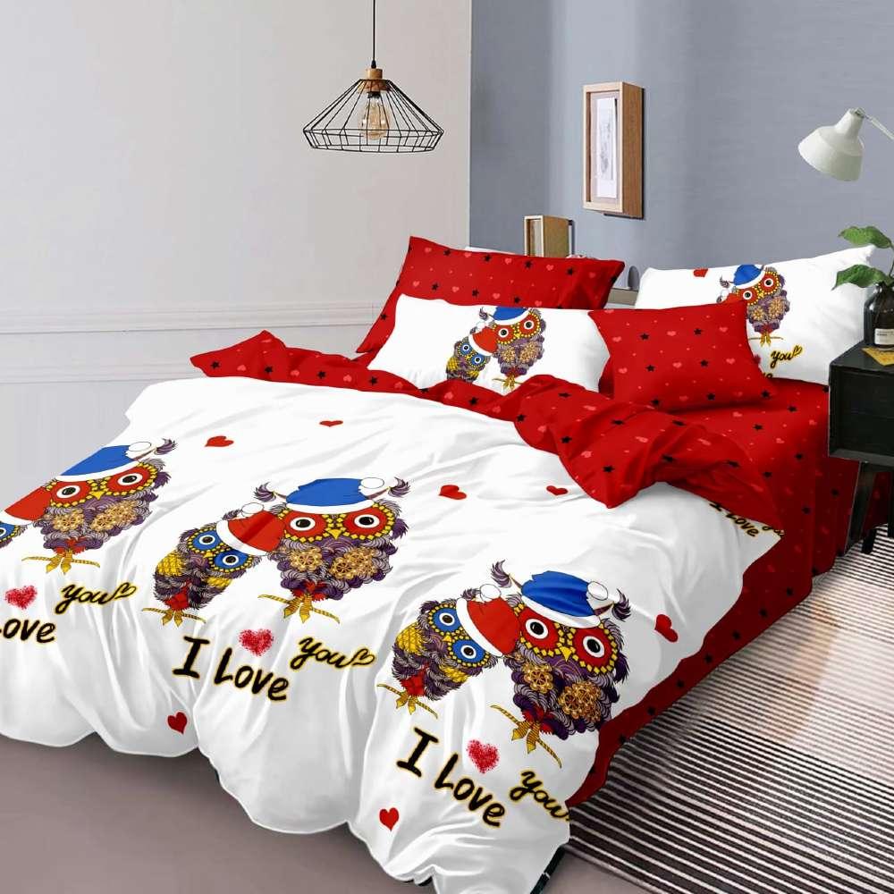lenjerie de pat rosie cu alb cu bufnite