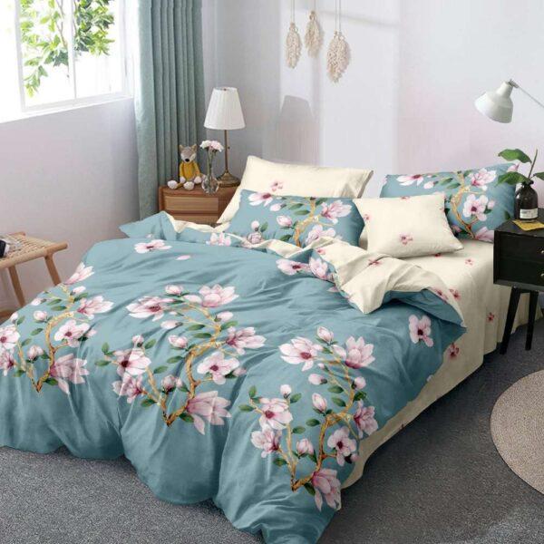 lenjerie de pat turcoaz cu flori