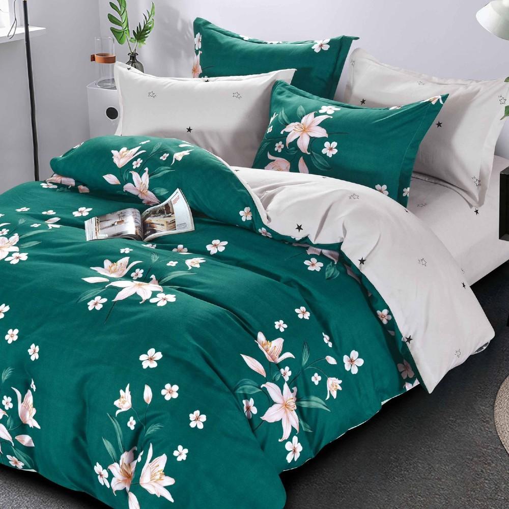 lenjerie verde cu flori albe