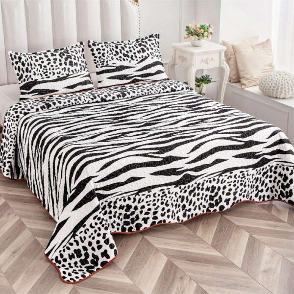 set cuvertura de pat alb cu negru
