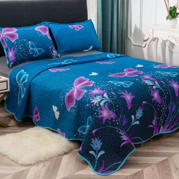 set cuvertura de pat albastra cu fluturi
