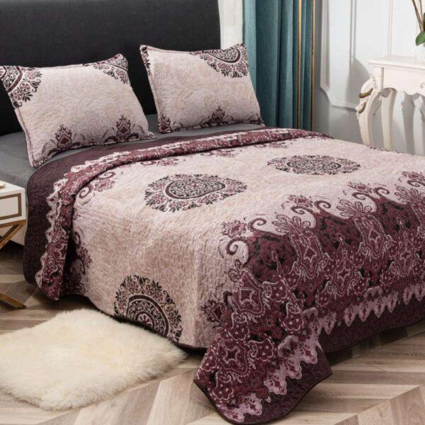 set cuvertura de pat bej abstract