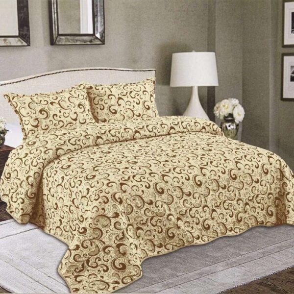 set cuvertura de pat bej cu maro