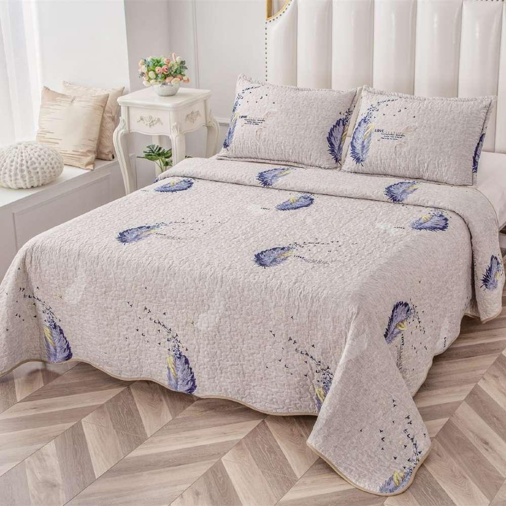 set cuvertura de pat gri cu pene