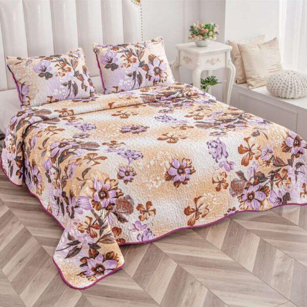 set cuvertura de pat crem colorata