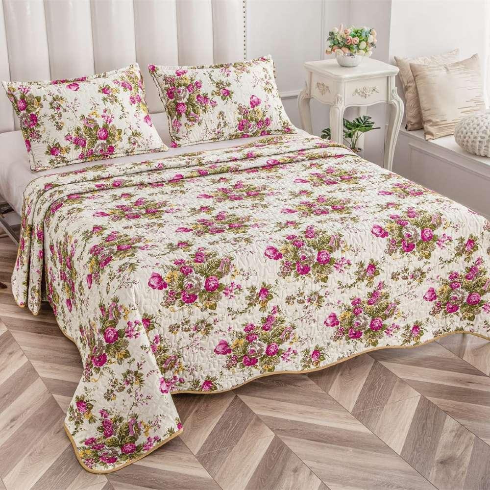 set cuvertura de pat crem cu flori colorate