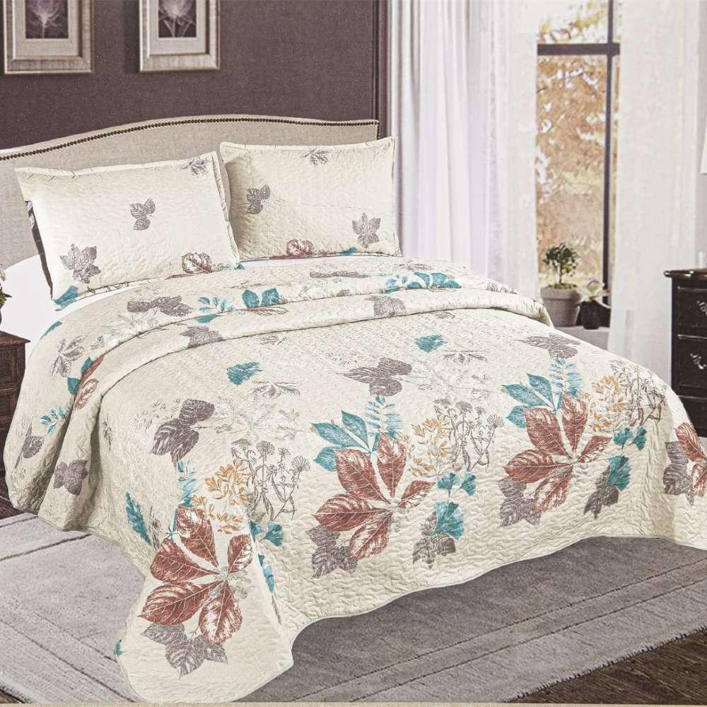 set cuvertura de pat crem cu flori