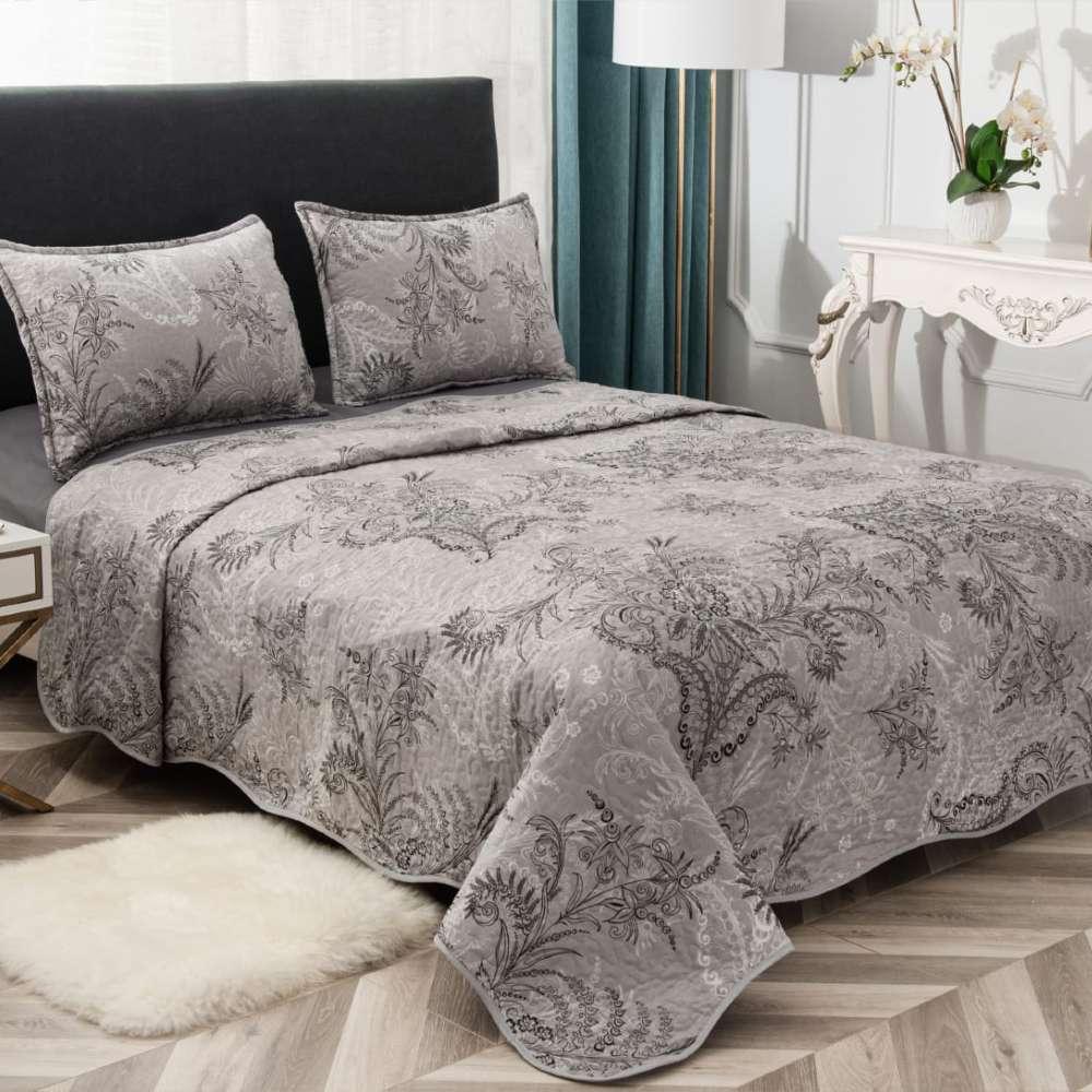 set cuvertura de pat gri cu flori negre