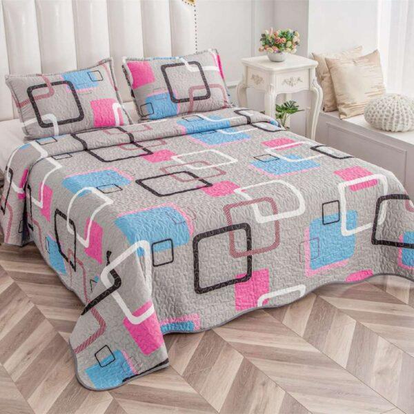 set cuvertura de pat gri cu forme geometrice