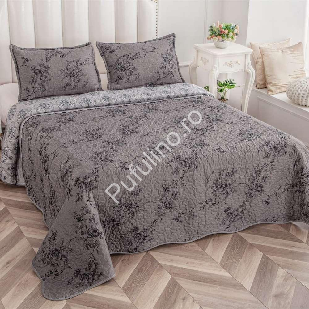 set cuvertura de pat gri inchis