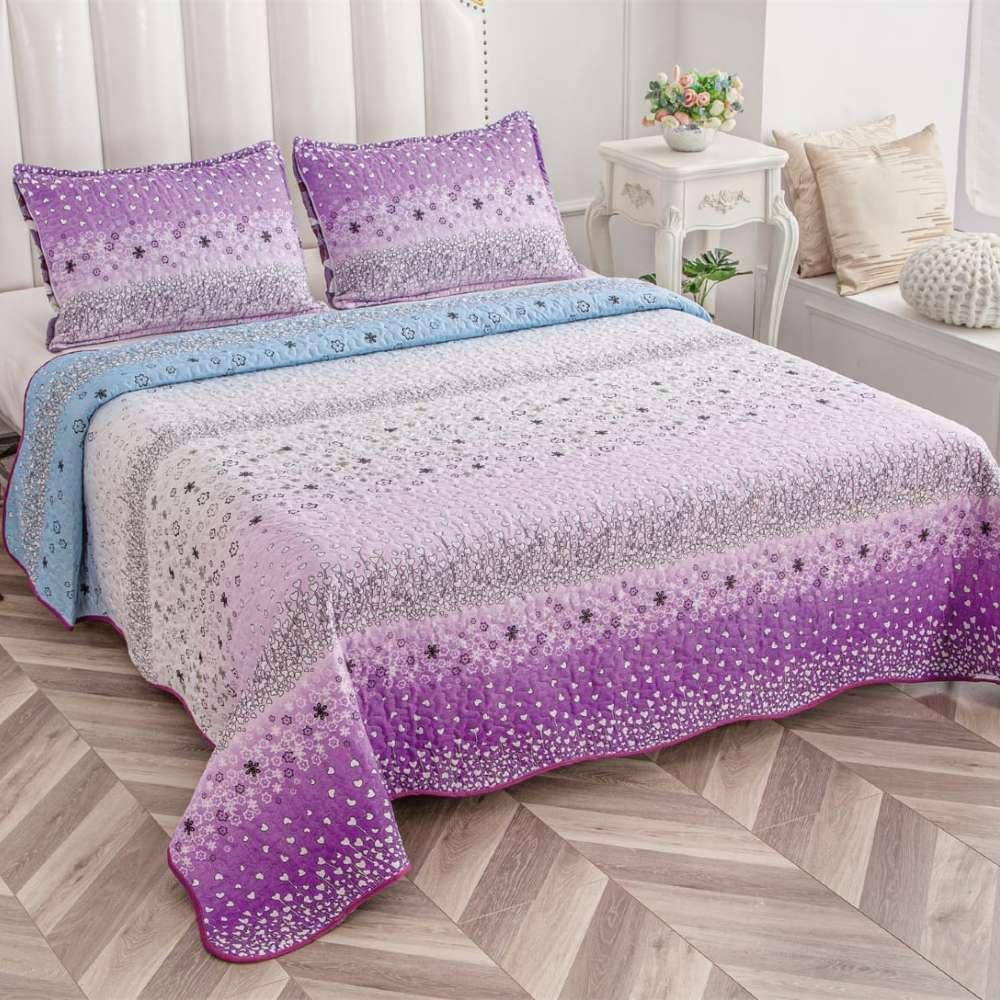 set cuvertura de pat lila colorata