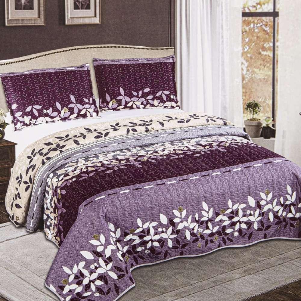 set cuvertura de pat lila cu flori