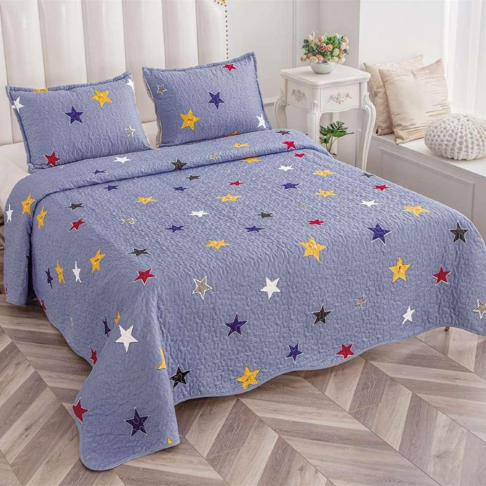 set cuvertura de pat lila cu stelute