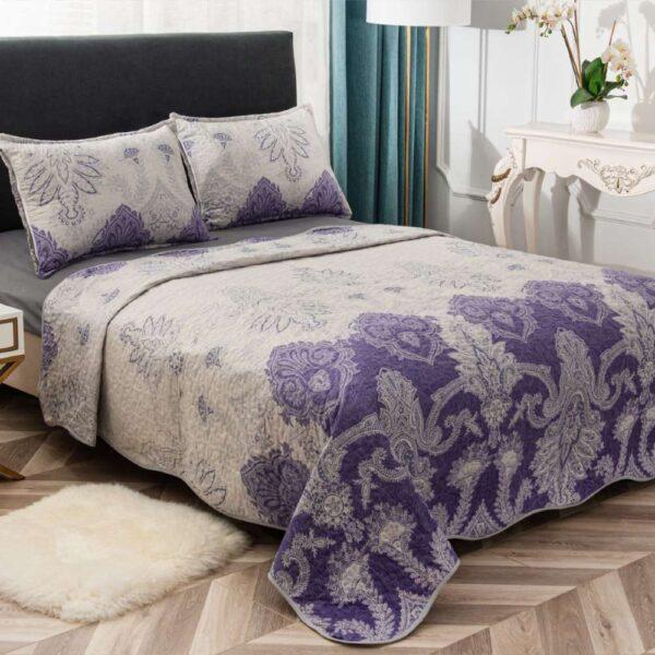 set cuvertura de pat mov cu flori