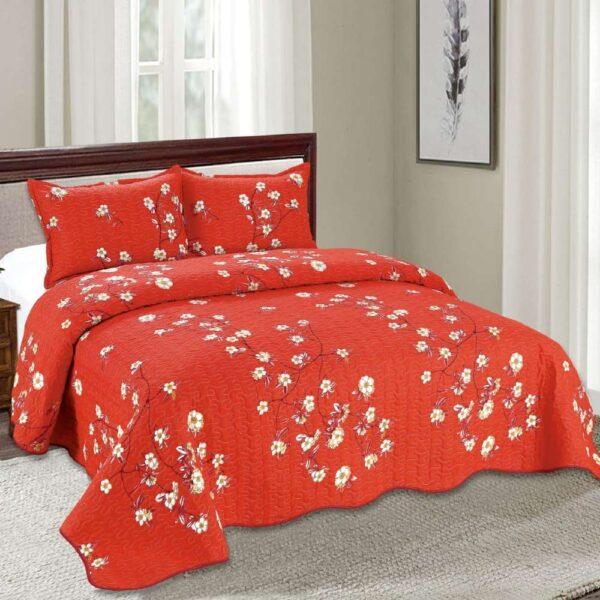set cuvertura de pat rosie cu flori