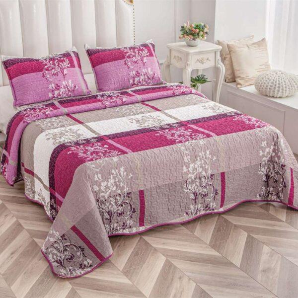 set cuvertura de pat roz