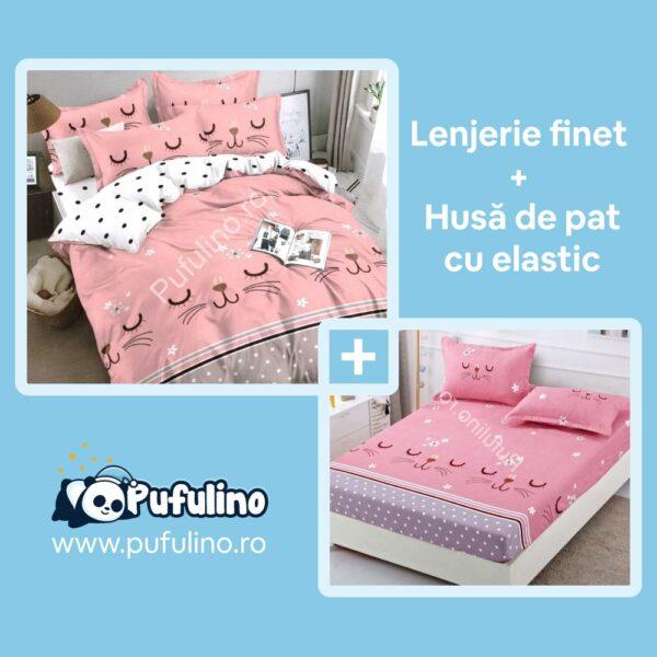 set-lenjerie-de-pat-si-husa-cu-pisicute-roz
